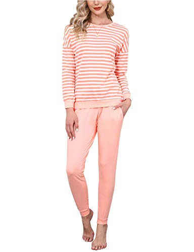 Doaraha Pijamas Algodón para Mujer Estampado de Rayas Ropa de Dormir Camiseta Manga Larga con Pantalones Larga Puño Elástico Conjunto de Pijamas Suave y Transpirable (Rosa Ahumado, M)