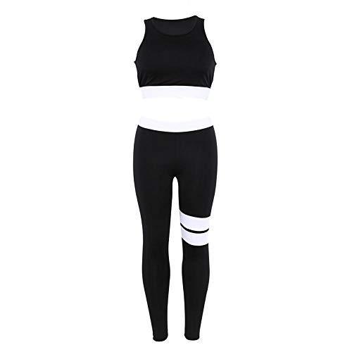 Pantalones de Yoga para Mujer Mujeres 2 Piezas Traje de Yoga Crop Tank Leggings a Rayas Set Poliéster Mujer Sport Bodysuit Club Outfit Chándales Deportivos