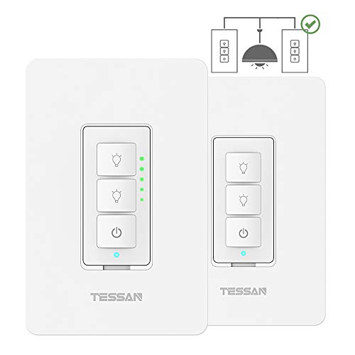 3-Way Smart Dimmer Switches Kit, TESSAN WiFi Dimmable Light Switches Work with Alexa, Google Home, Multiple-Locations, Neutral Wire Required, Programmable Timer Schedule Wall Switch