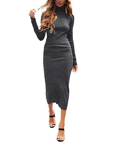 Auxo Vestido a Punto Cuello Alto Suéter Larga Elegante Clásico para Mujer Jerséy para Otoño Invierno Fiesta Cóctel Noche 01-Gris Oscuro S