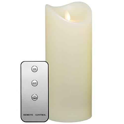 Tronje 23cm LED Kerze mit Timer u. Fernbedienung - Leuchtdauer 1000 Std. Echtwachskerze mit beweglicher Flamme Creme-Weiß