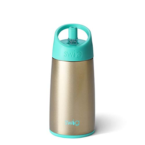 Swig Life 12oz Triple Insulated Stainless Steel Water Bottle with Straw Lid, Dishwasher Safe, Double Wall, & Vacuum Sealed Reusable Water Tumbler in Champagne (Multiple Patterns Available)