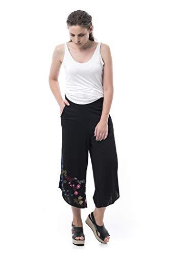 Mamatayoe Lacock Pantalon Palazzo, Negro, XXL para Mujer
