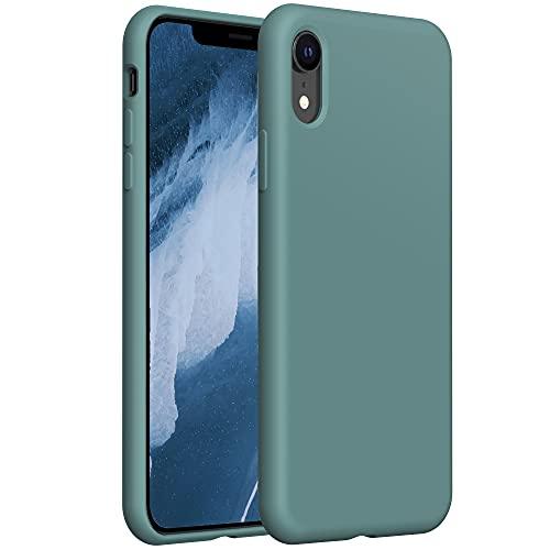 """YATWIN Funda de Silicona Compatible con iPhone XR 6,1"""", Carcasa iPhone XR Case,Carcasa de Sedoso-Tacto Suave, Protección Funda Protectora 3 Tapas Estructura, Pino Verde"""