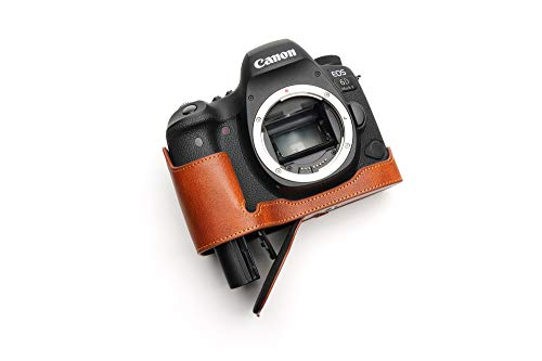 Canon キャノン EOS 6D Mark II 6D2 専用 本革カメラケース バッテリー交換可能タイプ 底面開閉 (ブラウン)