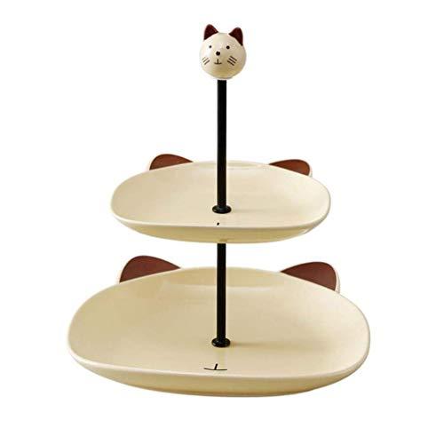 Frutero dibujos animados cerámica,estante para pasteles,2 capas,estante fruta gran capacidad,postre frutas desmontable,sala estar,canasta almacenamiento dulces,plato frutas 21.826.5cm (Color:blanco)