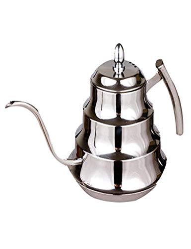 Pot à Main en Acier Inoxydable à Col de Cygne - Pot à Bouche Mince en Bambou - Filtre IntéGré - Approprié pour PréParer Un Café/Thé Parfait - (1200ml, Argent)