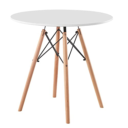 AINPECCA Round Dining Table Modern Design Kitchen Table MDF Top with Wooden Legs for Dining Room Living Room Office Lounge (White, 80 x 80 cm)