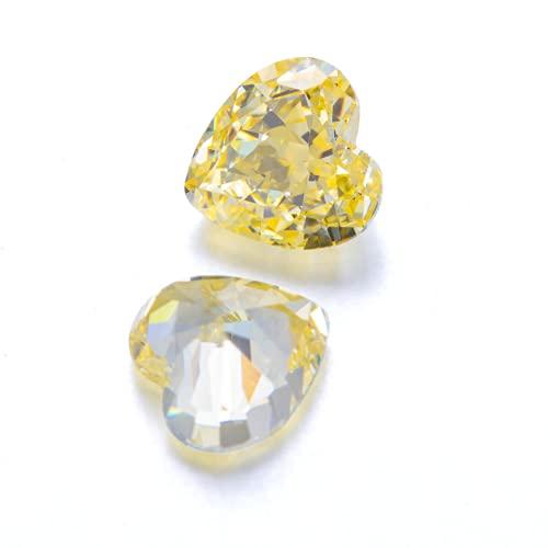 Wuluwala Diamante artificial amarillo piedra suelta en forma de corazón VVS claridad 3EX tamaño de corte gema sintética completa