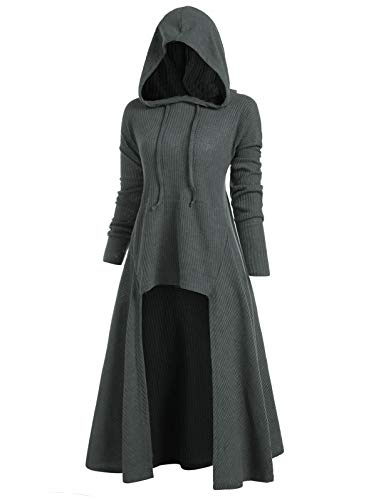 JMSUN Women's Hooded High Low Drop Shoulder Longline Sweater Gray