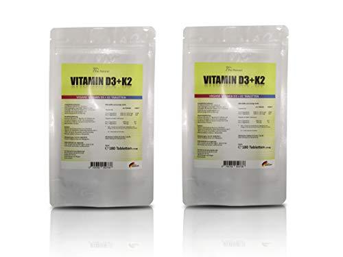 Vitamin D3 5000 I.E. (Cholecaliferol) + Vitamin K2 MK7 (All-Trans Menaquinon 7 - MK7 ) 200mcg - 2 Beutel (360 vegane Tabletten 2 Packungen a 180)