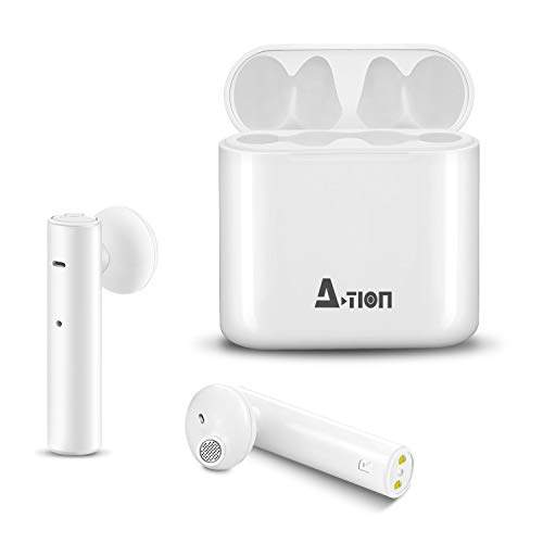 Wireless Earbuds, A-TION True Bluetooth Earbuds with Built-in Mic & Charging Case TWS Stereo Noise Cancelling in-Ear Earphones Compatible with iPhone iPad Android Smartphone (White)