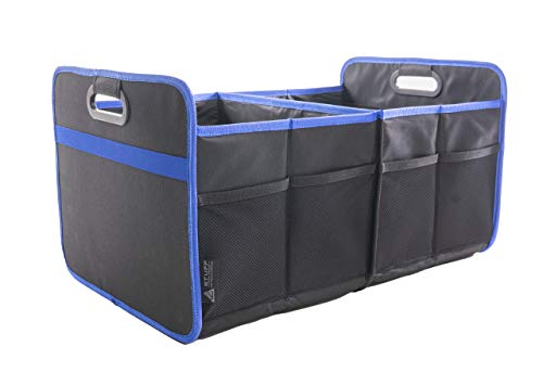 stuff from above® Blaue-Kofferraumtasche, groß, aus Polyester (57x35x30cm) Kofferraum-Organizer-Auto mit Klett - Zubehör für Kofferraum Falttasche Einkaufstasche Box Ordnungssystem Tragetasche