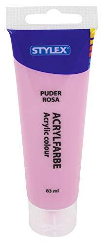 Stylex 28763 - Pintura acrílica a base de agua, tubo de 83 ml rosa pastel, mate, alta opacidad y color, resistente a la luz, secado rápido y resistente al agua