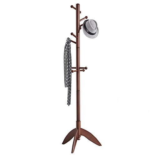 Vlush Rubber Wood Coat Rack Free Standing, 11 Hooks Hallway/Entryway Coat Hat Tree Coat Hanger for Clothes, Suits, Accessories (Dark Brown)
