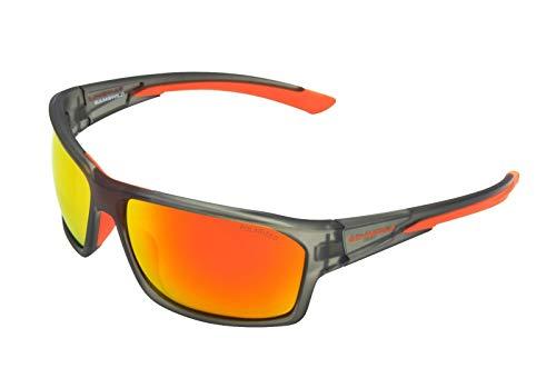 Gamswild WS4834 Sonnenbrille Skibrille Fahrradbrille Damen Herren Unisex | blau-lila | schwarz-grün | grau-orange, Farbe: Grau/Orange
