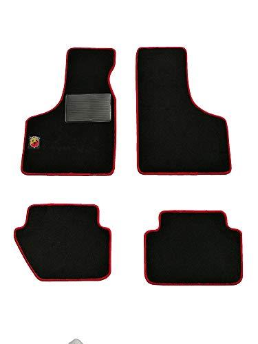 """Glac Store® Kit Tappetini Auto con Logo Ricamato """"Abarth"""" per Fiat 500 d'Epoca Anteriori e Posteriori di Alta qualità in Moquette con Battitacco Bordo Rosso Velcro per aderire"""