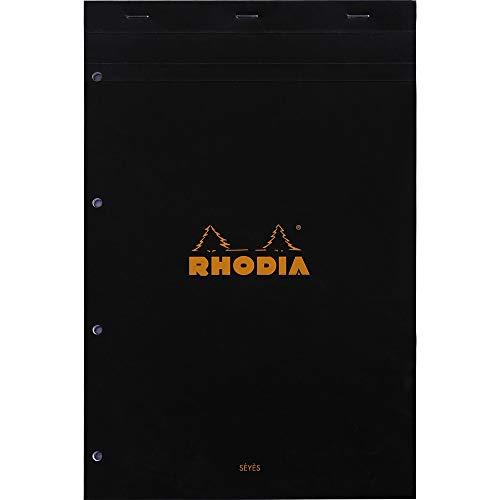Rhodia 201009C - Bloc-Notes Agrafé N°20 Black A4+ 21x31,8 cm Grands Carreaux Seyès 80 Feuillets Détachables Perforation 4 Trous Papier Clairefontaine Blanc 80 g/m²