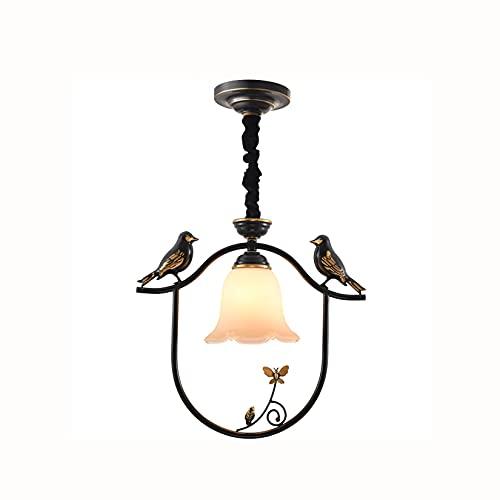 Luz colgante creativa, 16.5 pulgadas Pájaro gemelo con sombra de vidrio Sling Ajustable Bronce Retro araña, para balcón, pasillo, pasillo