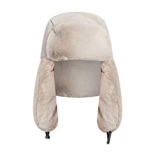 TUDUZ Sombrero para Mujer De Invierno Gorro Grueso De Cálido De Felpa Falso (Caqui.B)