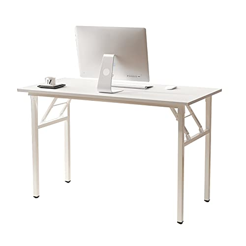 sogesfurniture Mesa Escritorio Plegable,120x60 cm Mesa de Ordenador Escritorio de Computadora Mesa de Estudio Mesa de Trabajo Plegable para Hogar Oficina, Blanco BHEU-LP-AC5WW-120