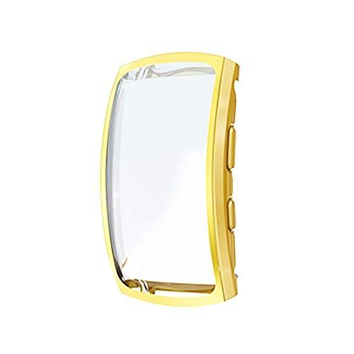 HUANGCAIXIA Schale ansehen for Samsung Gear Fit 2 Pro Full Coverage Plating TPU-Uhr-Kasten (schwarz) Gehäuse ansehen (Farbe : Gold)