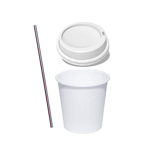 (50 Sets) 4 oz White Paper Hot Cups with Lids and Stirrers, To Go Espresso Shot Cups with Travel Lids by Tezzorio