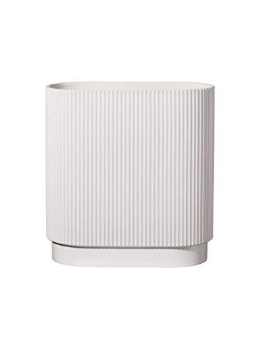 ASA - Artdeco - vaas - wit mat - ovaal - groefstructuur - 34,5 x 16 cm - hoogte: 40 cm