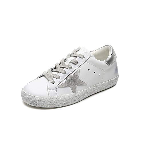 sneakers donna ovye XL_nsxiezi Scarpe Piatte Vintage da Donna in Pelle Modello Stella Studente 38