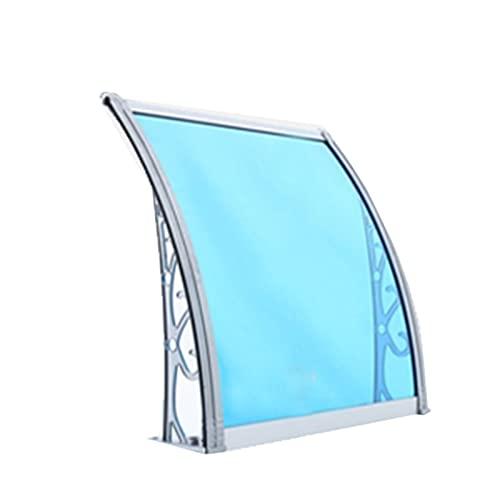 Lw Shelf Marquesina para toldo de Aluminio,toldo de la Puerta de policarbonato de PC,toldo del Porche Trasero del Frente del Refugio al Aire Libre,Panel Azul,Soporte Gris (Size : 80x150cm)