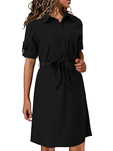 kenoce Blusenkleid Damen Longshirt V-Ausschnitt 3/4-Ärmel Longbluse Sommerkleid Tunika Kleid Kleider mit Knöpfe A1-Schwarz S