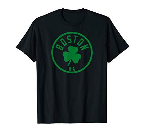 Boston Basketball Shamrock Massachusetts Vintage Distressed T-Shirt