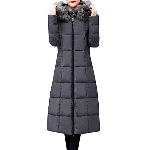 Plot Damen Steppjacke Lang Winterjacke Wintermantel Einfarbig Stepp Jacken mit Pelzkapuze Winter Warm Mantel Outwear Lange Slim Fit Steppmantel Reißverschlus Black Rot Grau
