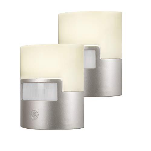 GE Silver LED Night Light, 2 Pack, Motion Sensor, 40 Lumens, Plug-in, Soft White, UL-Listed, Ideal for Bedroom, Nursery, Bathroom, 46633, 2 Count
