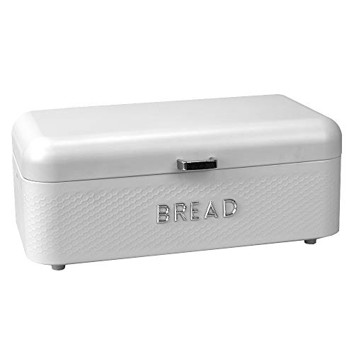 Home Basics Box for Kitchen Counter Dry Food Storage Container, Bin, Store Bread Loaf, Dinner Rolls, Pastries, Baked Goods, SOHO WHITE