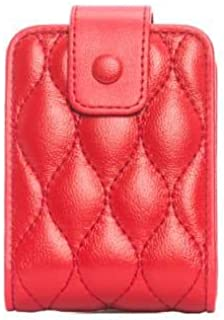Lipstick Case with Mirror Cute Portable Makeup Bag Genuine Leather Cosmetic Pouch takes up to 3 lipstick and lip gloss: Travel size on the go (RED)