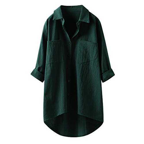Camisa de manga larga para mujer, de otoño, monocolor, camiseta de manga larga, con botones, elegante para...