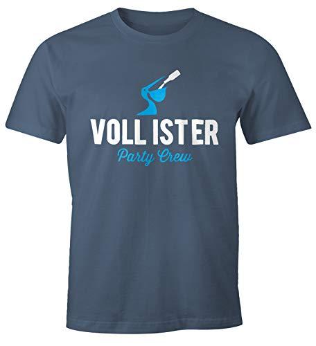 MoonWorks Lustiges Herren T-Shirt Vollister Bier Fun-Shirt Denim XL