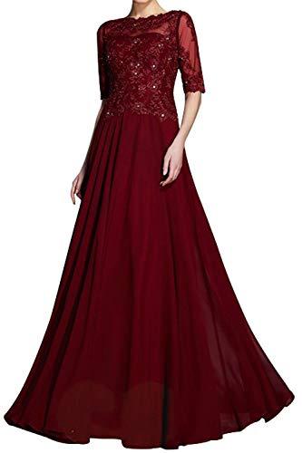 Damen Abendkleid Lang Elegant Hochzeitskleid Brautmutterkleid Spitzen Ballkleid A-Linie Festkleid mit 1/2 Ärmel Burgund 46