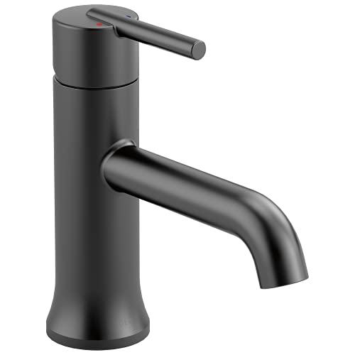 DELTA Trinsic Matte Black Bathroom Faucet, Single Hole Bathroom...