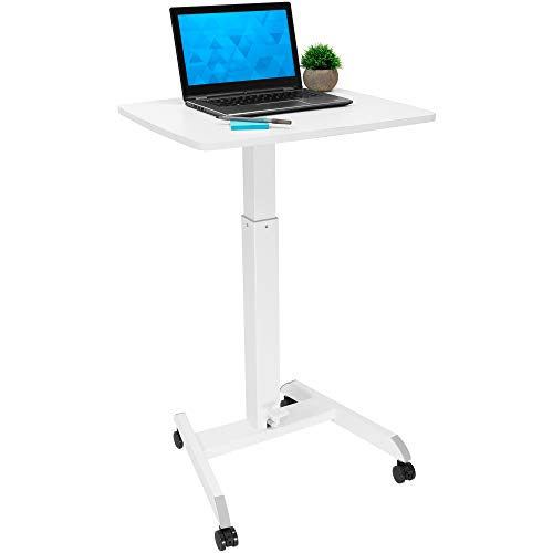 "Mount-It! Adjustable Rolling Laptop Desk with Wheels [23.6"" x 20.5""] Sit Stand Mobile Workstation Cart with Pneumatic Spring Lift for Height Adjustment, Rolling Computer Table, Foot Pedal (White)"