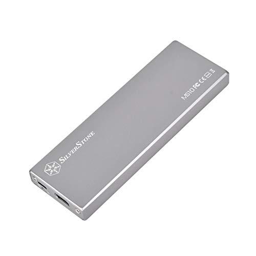 SilverStone SST-MS10C - externes M.2 SATA SSD-Gehäuse, USB 3.1 Gen 2, USB Typ C-Schnittstelle, mit Schreibschutz, silber