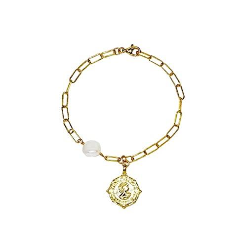 MLKJSYBA Pulsera 925 Plata esterlina Chapado enlazado Enlace Colgante Perla Pulsera 18 cm Oro Pulseras de Mujer (Color : White)
