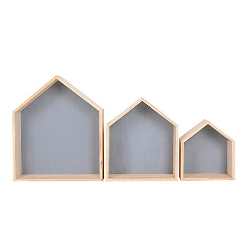 SWECOMZE 3er-Set Wandregal Hausform Regalbox Hausform Holzhaus-Regal Wand für Kinderzimmer Baby DIY Dekoration (Grau)