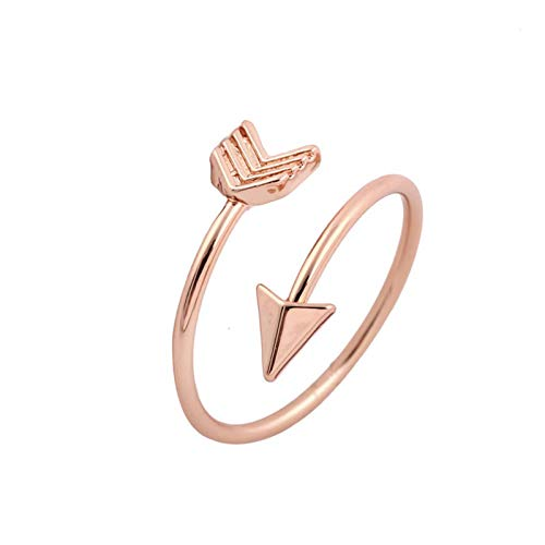 Fashionable Opening Adjustable Arrowhead Ring Couple Unique Copper Jewelry Gift Engagement Rings for Womens Jewelry Valentine's Day Presents(Rose Gold-One Size)