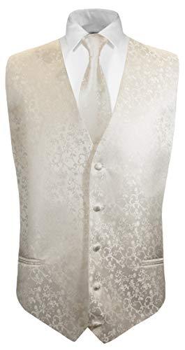 Paul Malone Hochzeitsweste + Krawatte Ivory Elfenbein floral - Bräutigam Hochzeit Anzug Weste Gr. 54 L