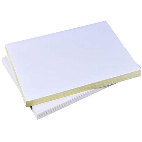 Basage 50 Hojas A4 Blanco Autoadhesivo Impermeable Etiqueta Adhesiva Papel de Superficie Mate para Impresora de InyeccióN de Tinta Copiadora