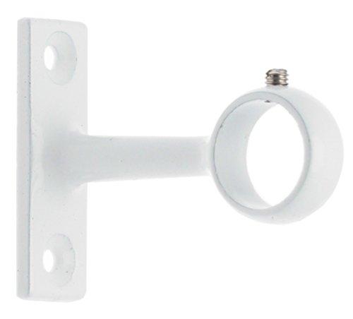 Ateliers 28 Support à Oeil Métal Blanc - Longueur 45 mm - pour Tube diamètre 16 mm - Vendu par 2
