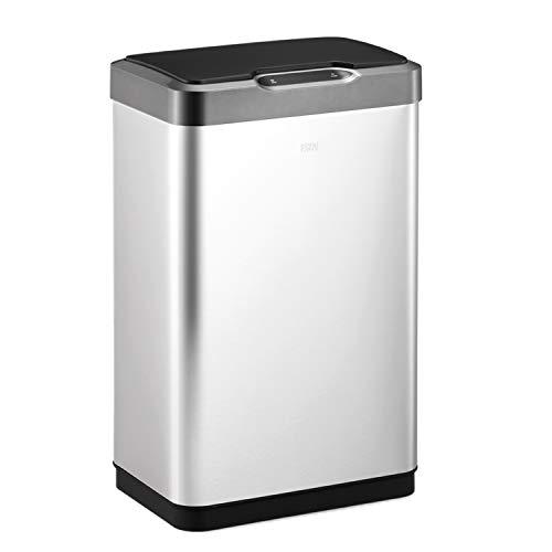 EKO Mirage-T 50 Liter / 13.2 Gallon Touchless Rectangular Motion Sensor Trash Can, Brushed Stainless Steel Finish