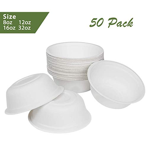 ZenCo Bagasse Rice Bowl - 50 Pack 32oz White Disposable Natural Sugarcane Heat Resistant Eco Friendly Paper Alternative Bowls (50 Count, 32oz)